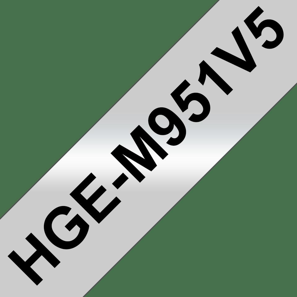 Genuine Brother HGe-951V5 Labelling Tapes – Black on Matte Silver, 24mm wide