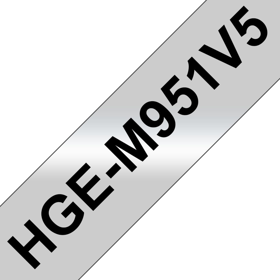 Genuine Brother HGe-951V5 Labelling Tapes – Black on Matt Silver, 24mm wide