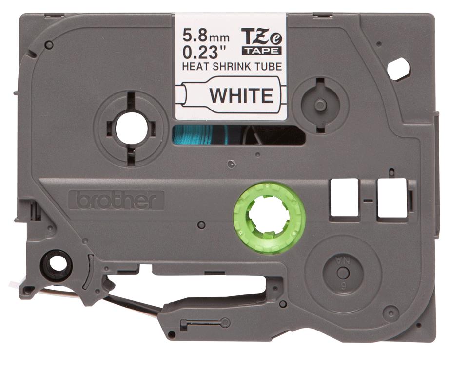 Genuine Brother HSe-211 Heat Shrink Tube Tape Cassette – Black on White, 5.8mm wide