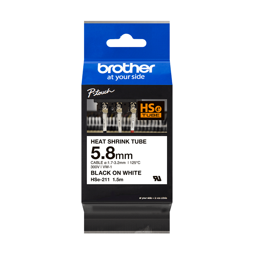 Genuine Brother HSe-211 Heat Shrink Tube Tape Cassette – Black on White, 5.8mm wide 1
