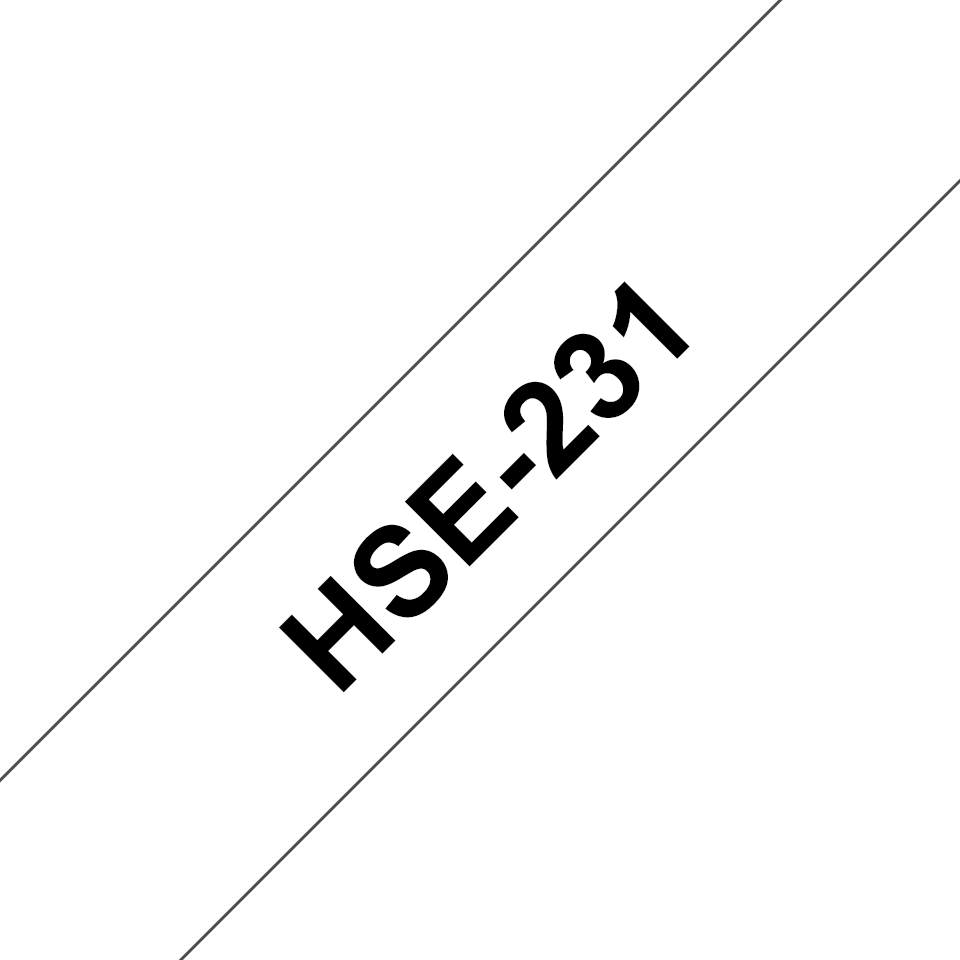 Genuine Brother HSe-231 Heat Shrink Tube Tape Cassette – Black on White, 11.7mm wide 3