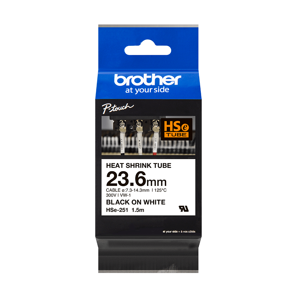 Genuine Brother HSe-251 Heat Shrink Tube Tape Cassette – Black on White, 23.6mm wide 2