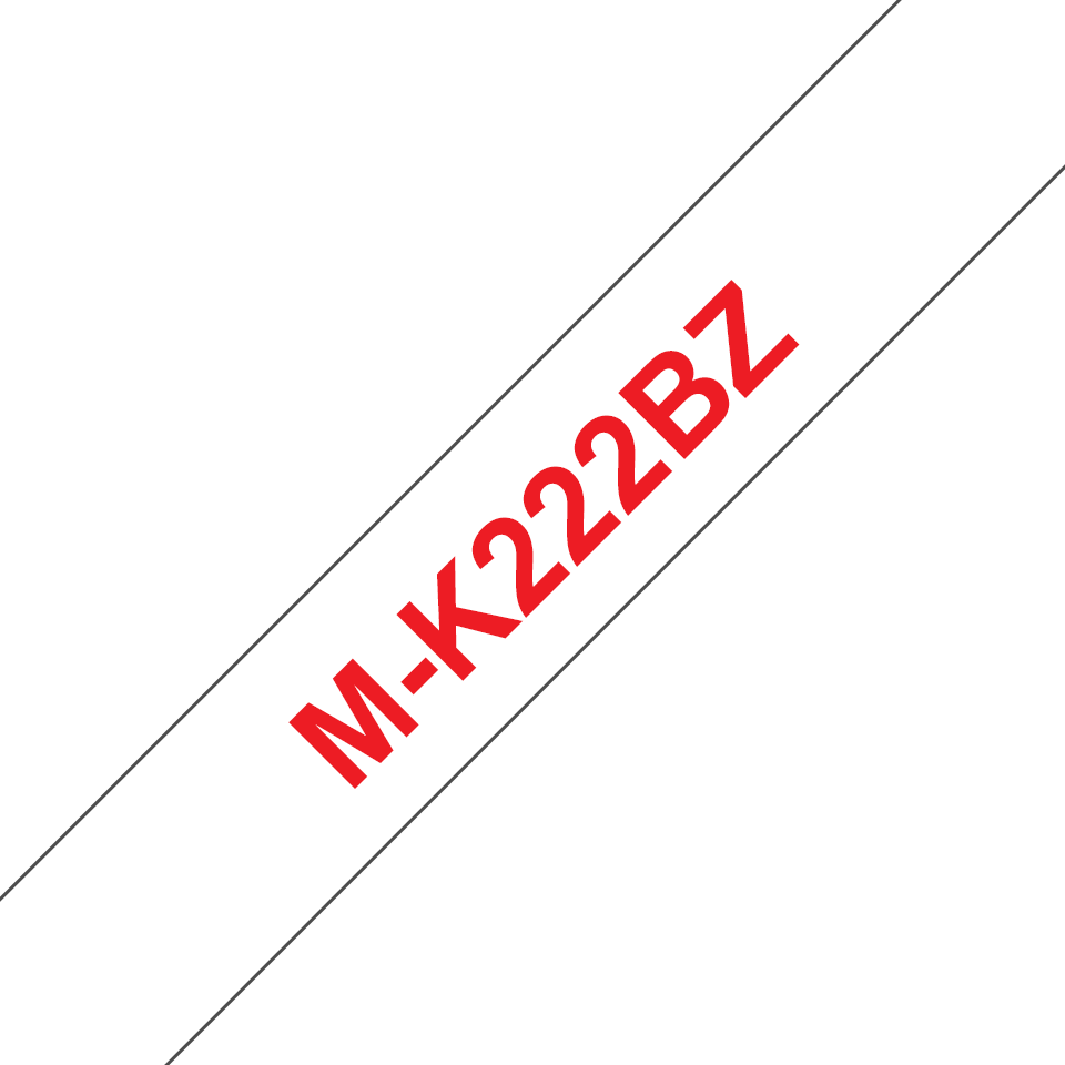 Genuine Brother M-K222BZ Labelling Tape Cassette – Red on White, 9mm wide 0