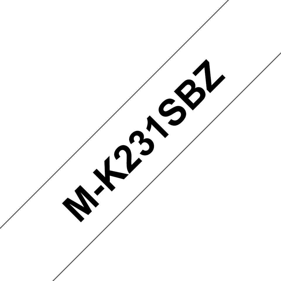 Genuine Brother M-K231SBZ Labelling Tape Cassette – Black on White, 12mm wide