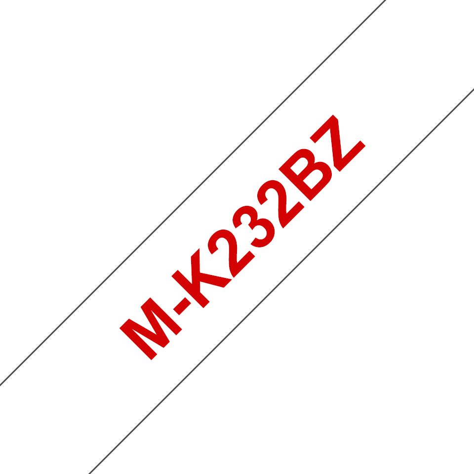 Genuine Brother M-K232BZ Labelling Tape Cassette – Red on White, 12mm wide