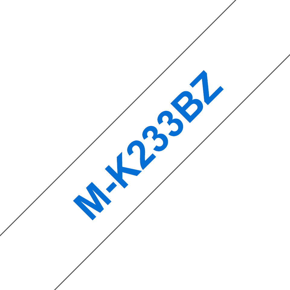 Genuine Brother M-K233BZ Labelling Tape Cassette – Blue on White, 12mm wide