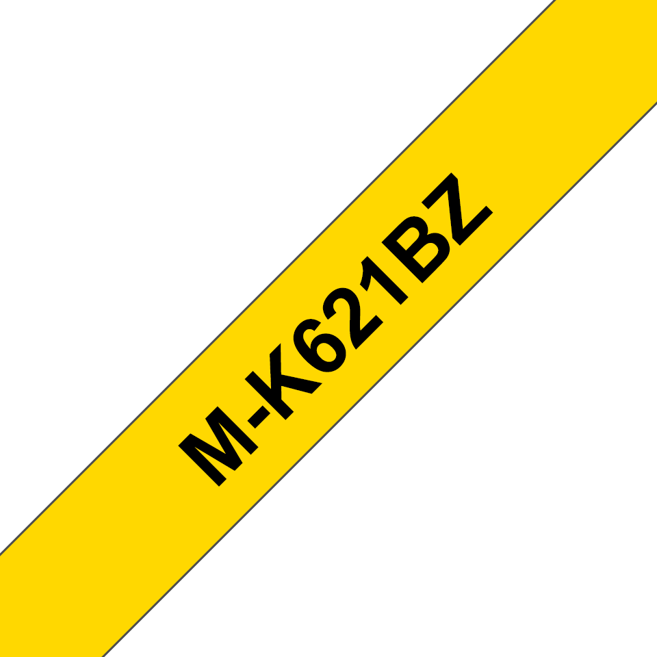 Genuine Brother M-K621BZ Labelling Tape Cassette – Black on Yellow, 9mm wide 0