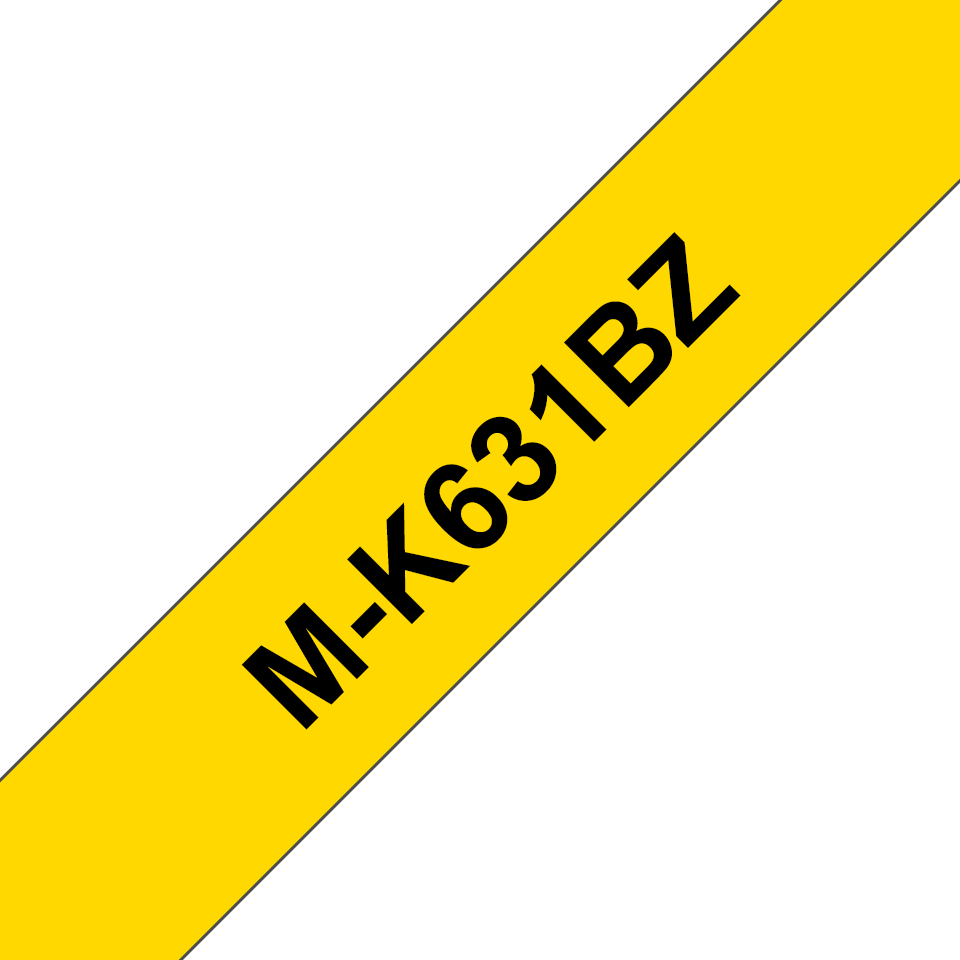 Genuine Brother M-K631BZ Labelling Tape Cassette – Black on Yellow, 12mm wide