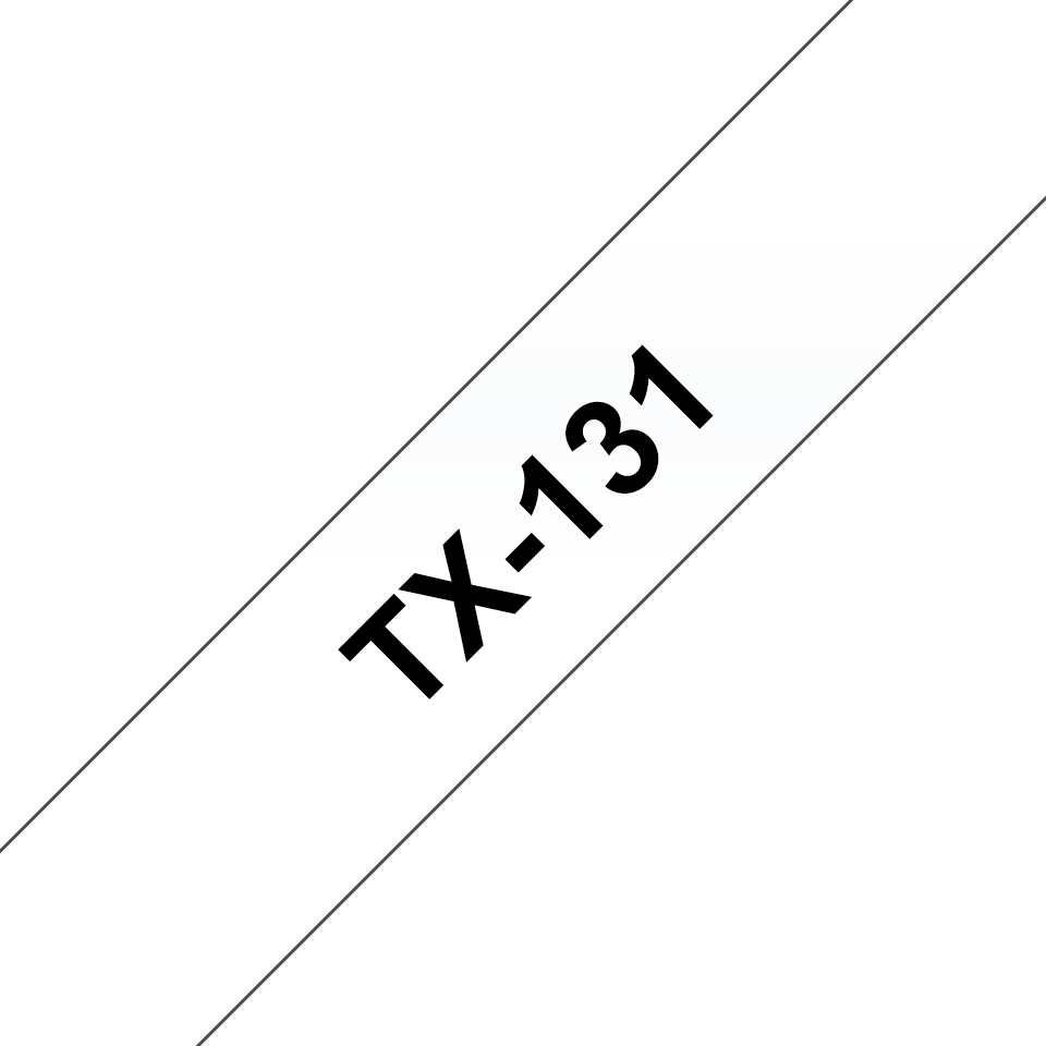 Genuine Brother TX-131 Labelling Tape Cassette – Black on clear, 12mm wide
