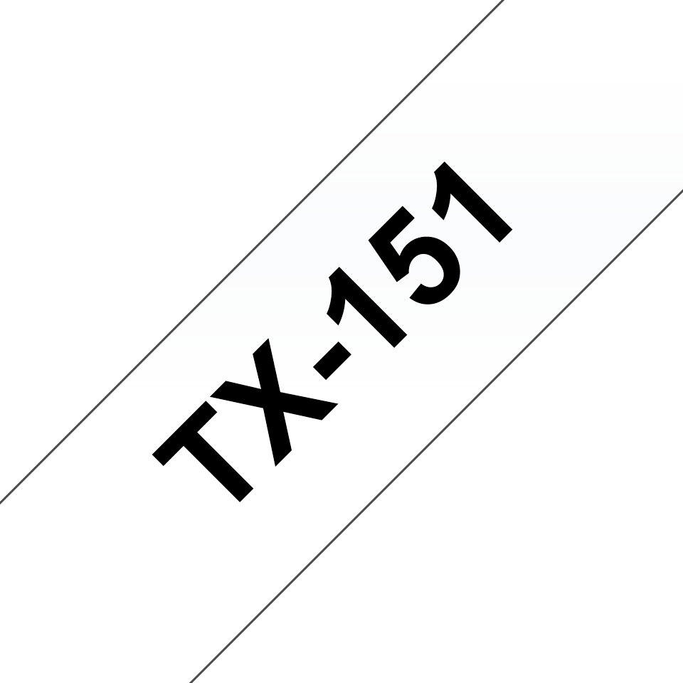 Genuine Brother TX-151 Labelling Tape Cassette – Black on clear, 24mm wide