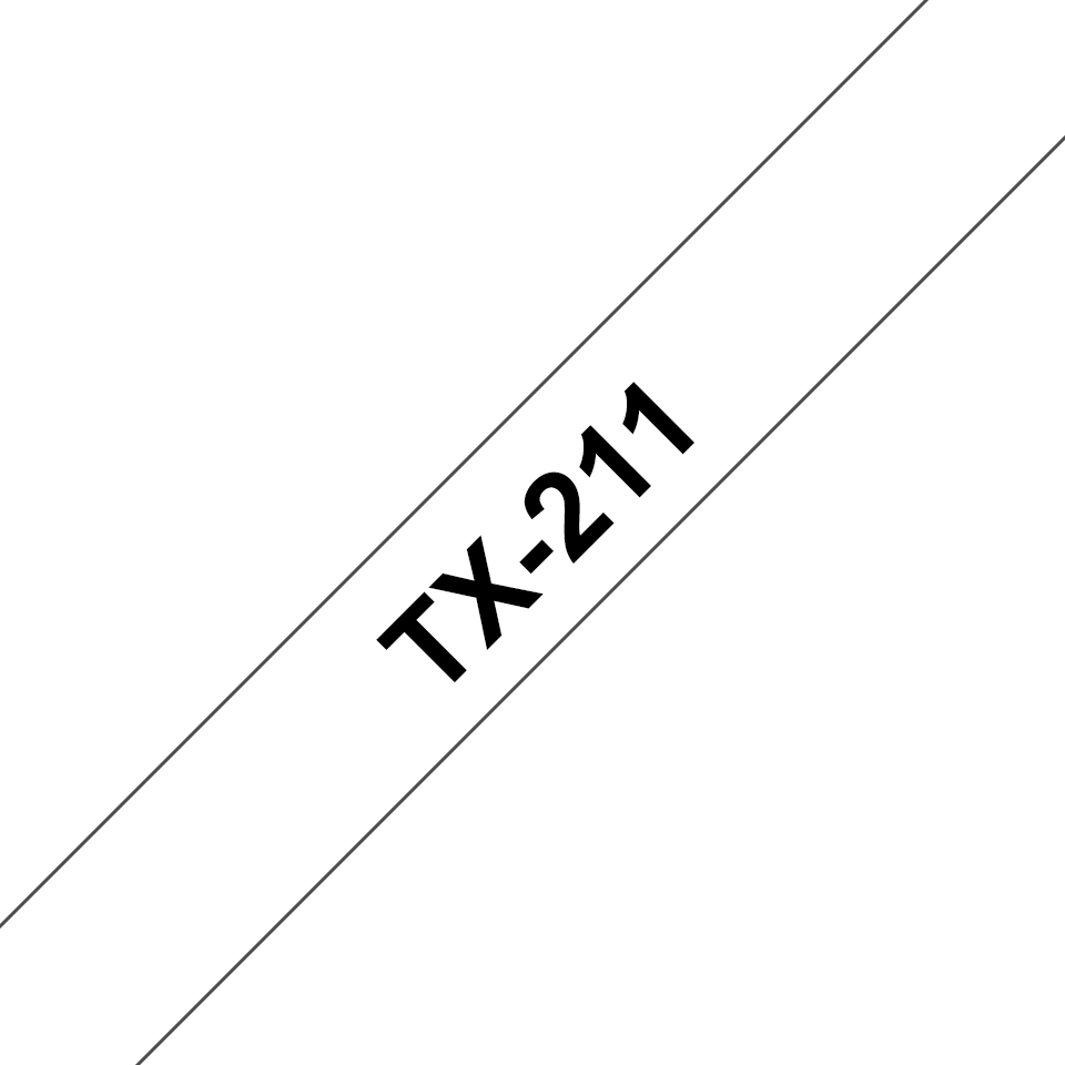Genuine Brother TX-211 Labelling Tape Cassette – Black on White, 6mm wide