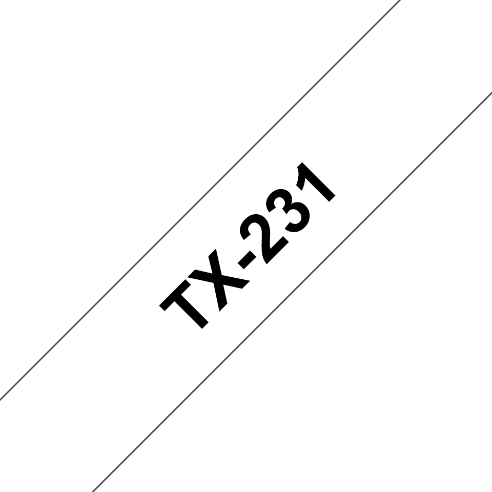 Genuine Brother TX-231 Labelling Tape Cassette – Black on White, 12mm wide