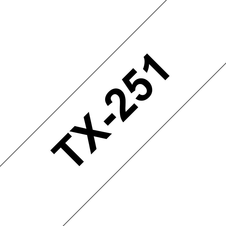 Genuine Brother TX-251 Labelling Tape Cassette – Black on White, 24mm wide 0