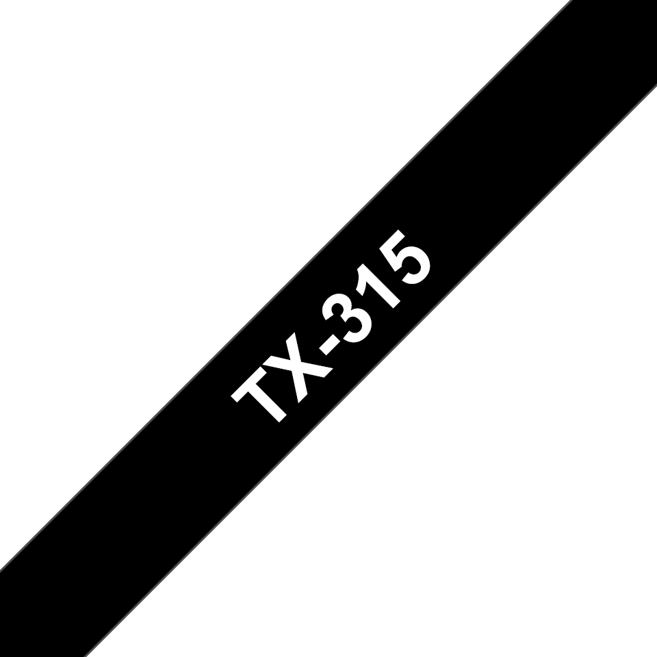 Genuine Brother TX-315 Labelling Tape Cassette – White on Black, 6mm wide