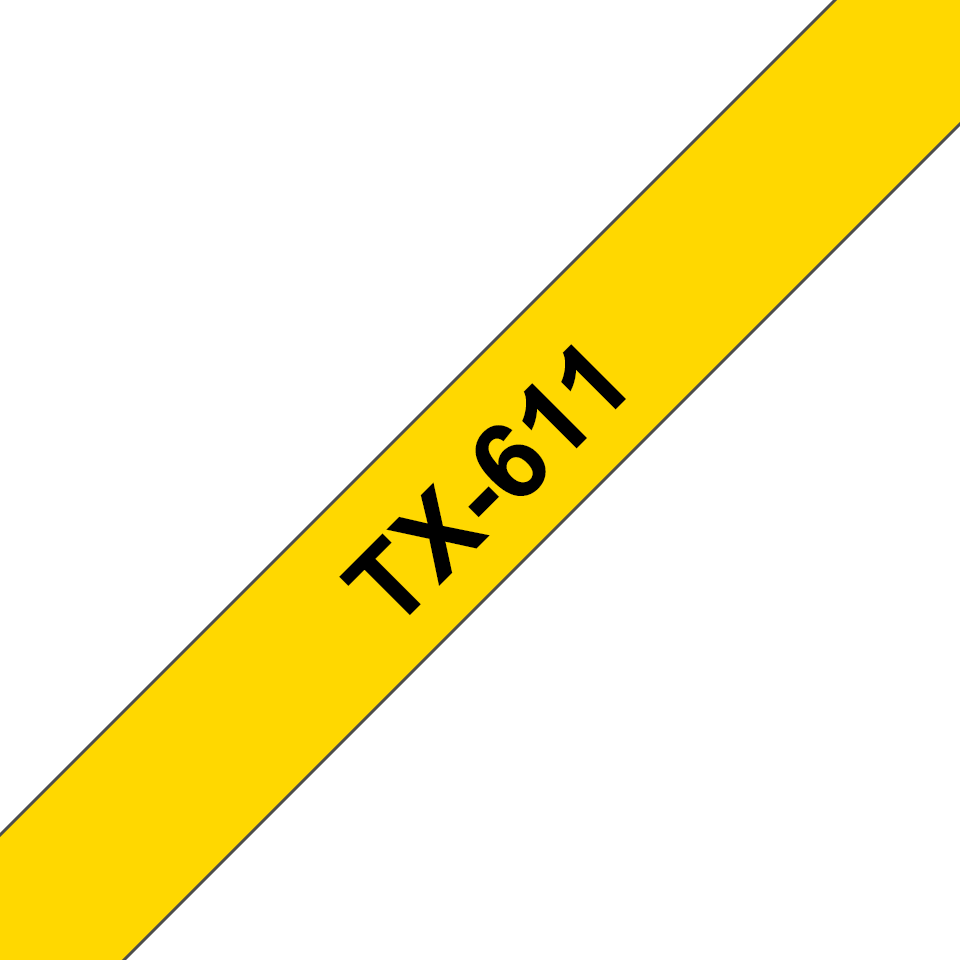 Genuine Brother TX-611 Labelling Tape Cassette – Black on Yellow, 6mm wide