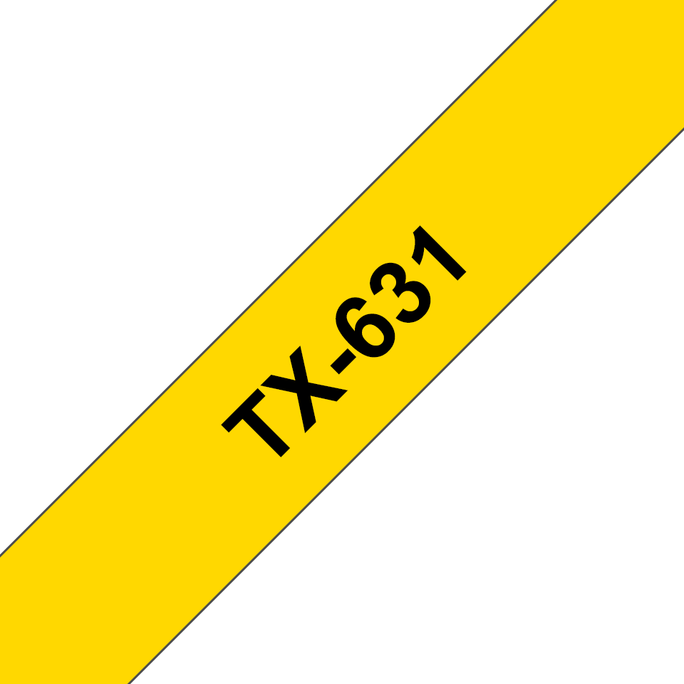 Genuine Brother TX-631 Labelling Tape Cassette – Black on yellow, 12mm wide