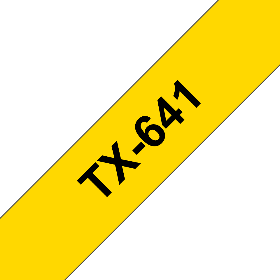 Genuine Brother TX-641 Labelling Tape Cassette – Black on yellow, 18mm wide