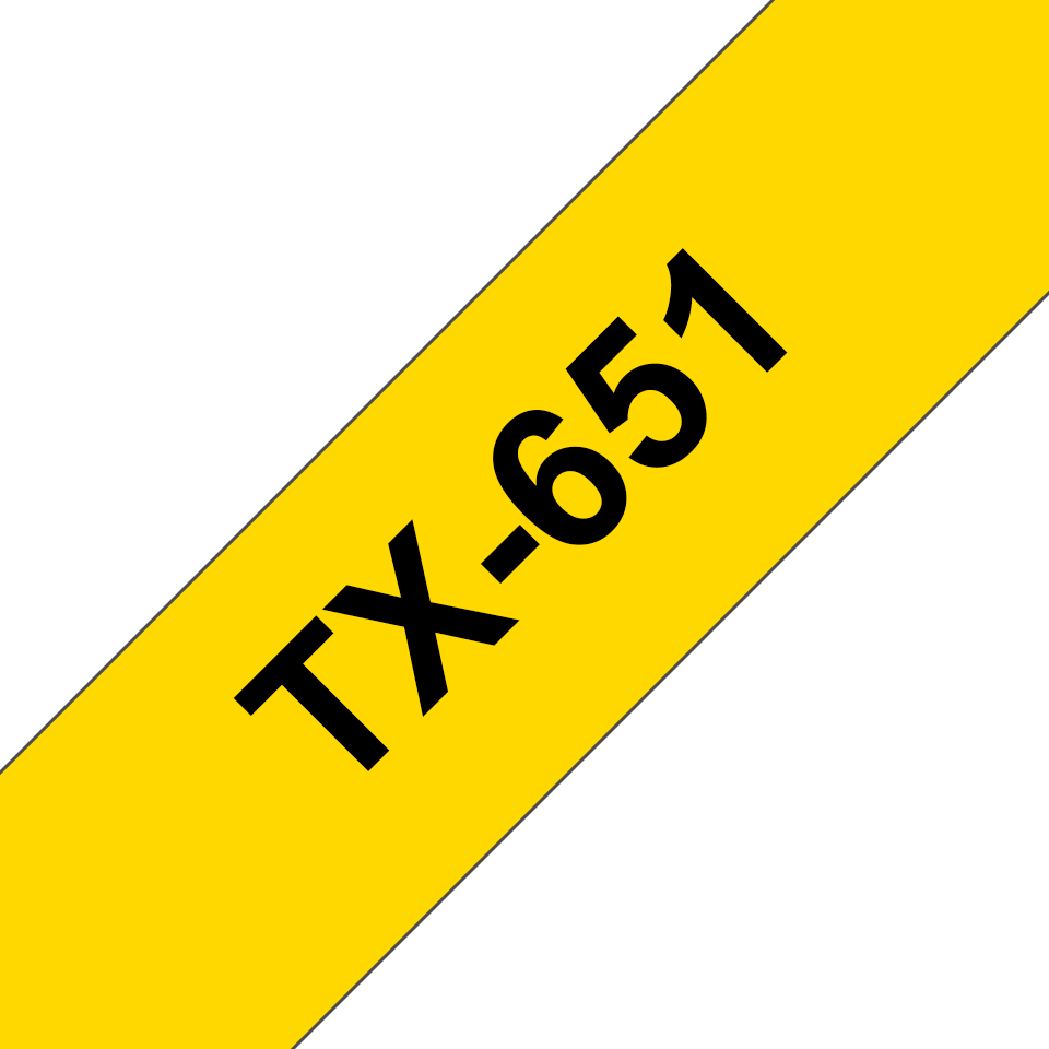 Genuine Brother TX-651 Labelling Tape – Black on Yellow, 24mm wide 0