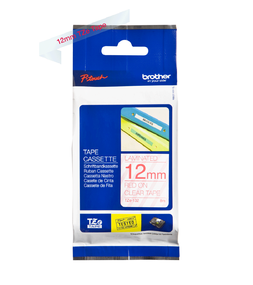 Genuine Brother TZe-132 Labelling Tape Cassette – Red On Clear, 12mm wide 2