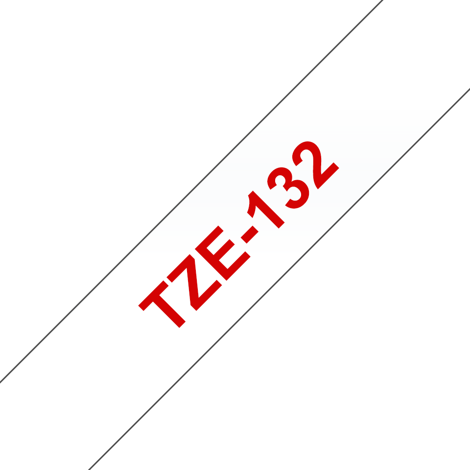 Genuine Brother TZe-132 Labelling Tape Cassette – Red On Clear, 12mm wide 3