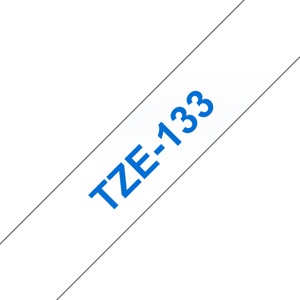 Genuine Brother TZe-133 Labelling Tape Cassette – Blue On Clear, 12mm wide