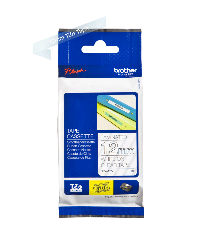 Genuine Brother TZe-135 Labelling Tape Cassette – White On Clear, 12mm wide 1