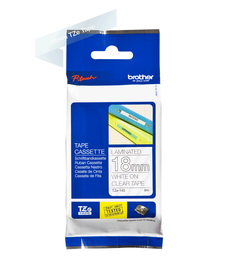 Genuine Brother TZe-145 Labelling Tape Cassette – White On Clear, 18mm wide 2