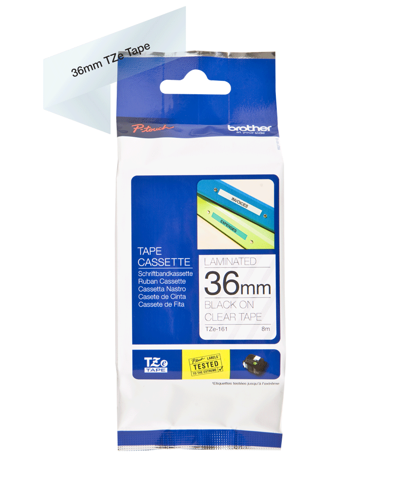 Genuine Brother TZe-161 Labelling Tape Cassette – Black on Clear, 36mm wide 1