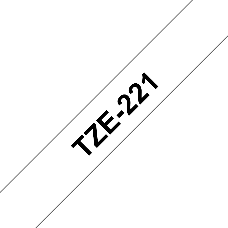 Genuine Brother TZe-221 Labelling Tape – Black on White, 9mm wide