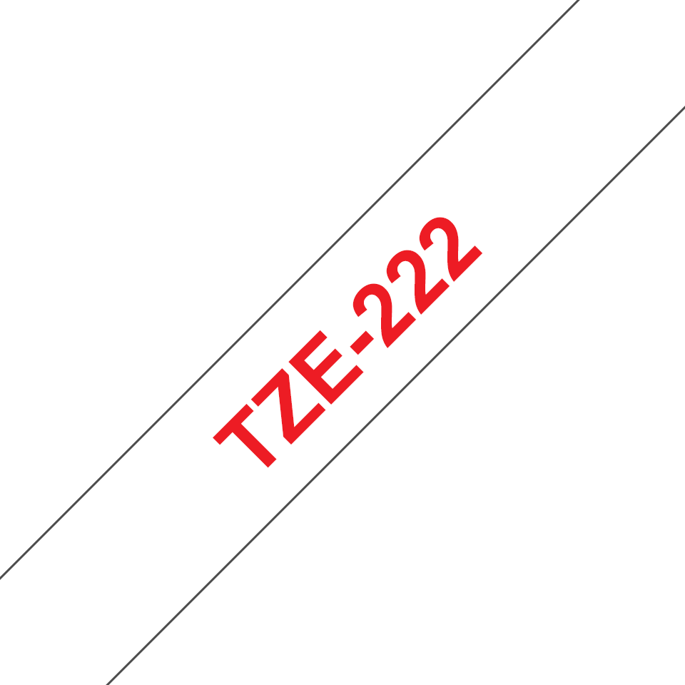 Genuine Brother TZe-222 Labelling Tape Cassette – Red on White, 9mm wide