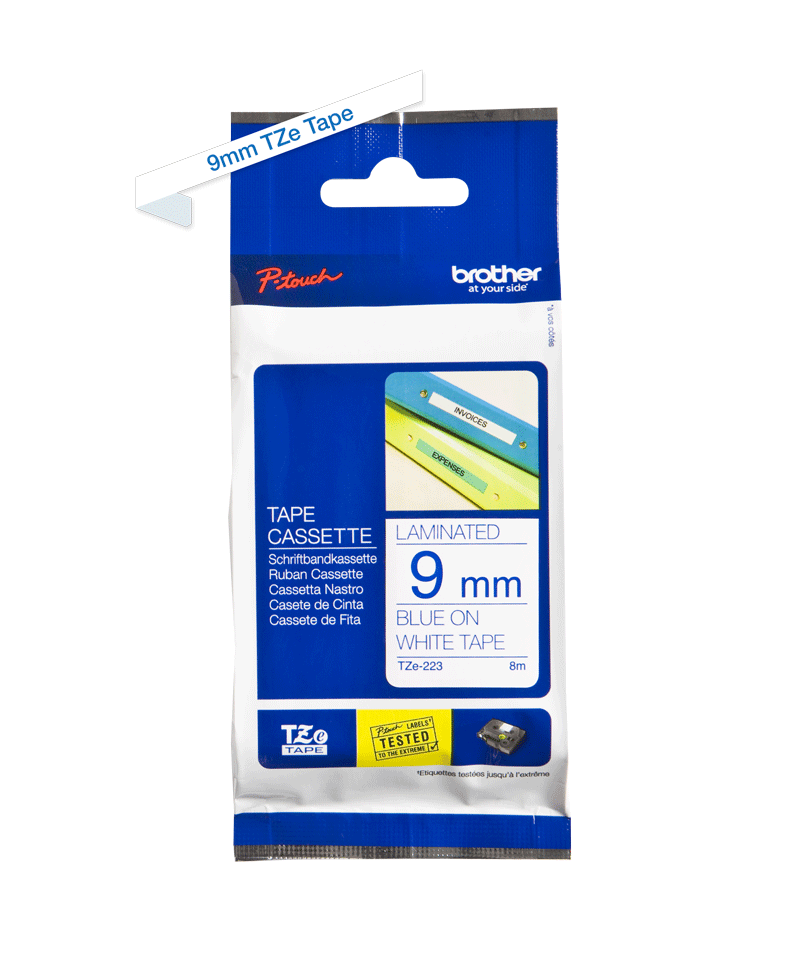 Genuine Brother TZe-223 Labelling Tape Cassette – Blue on White, 9mm wide 1