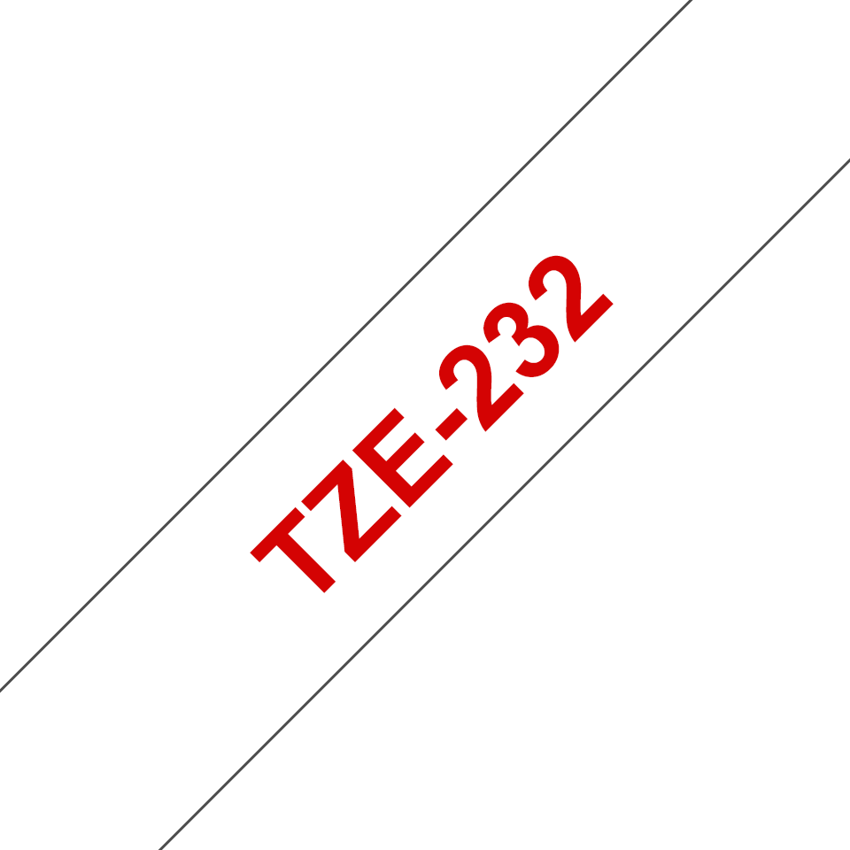 Genuine Brother TZe-232 Labelling Tape Cassette – Red on White, 12mm wide