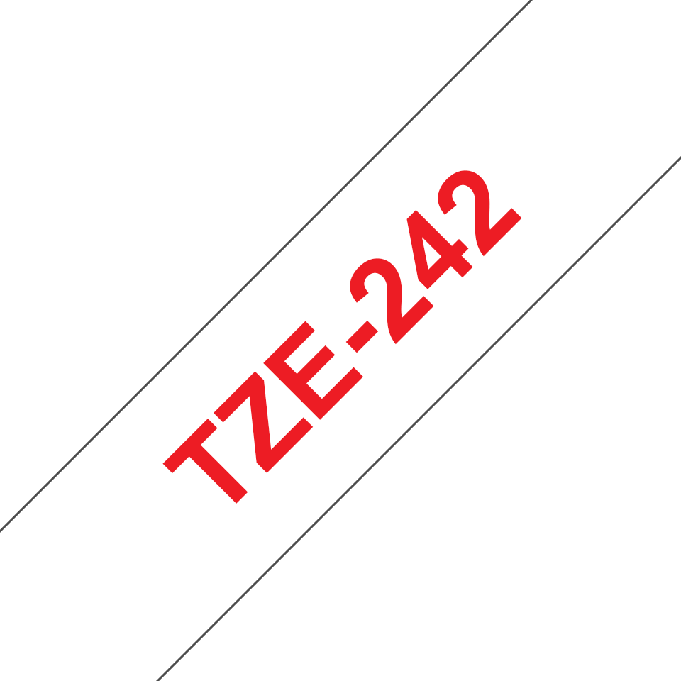 Genuine Brother TZe-242 Labelling Tape Cassette – Red on White, 18mm wide 2