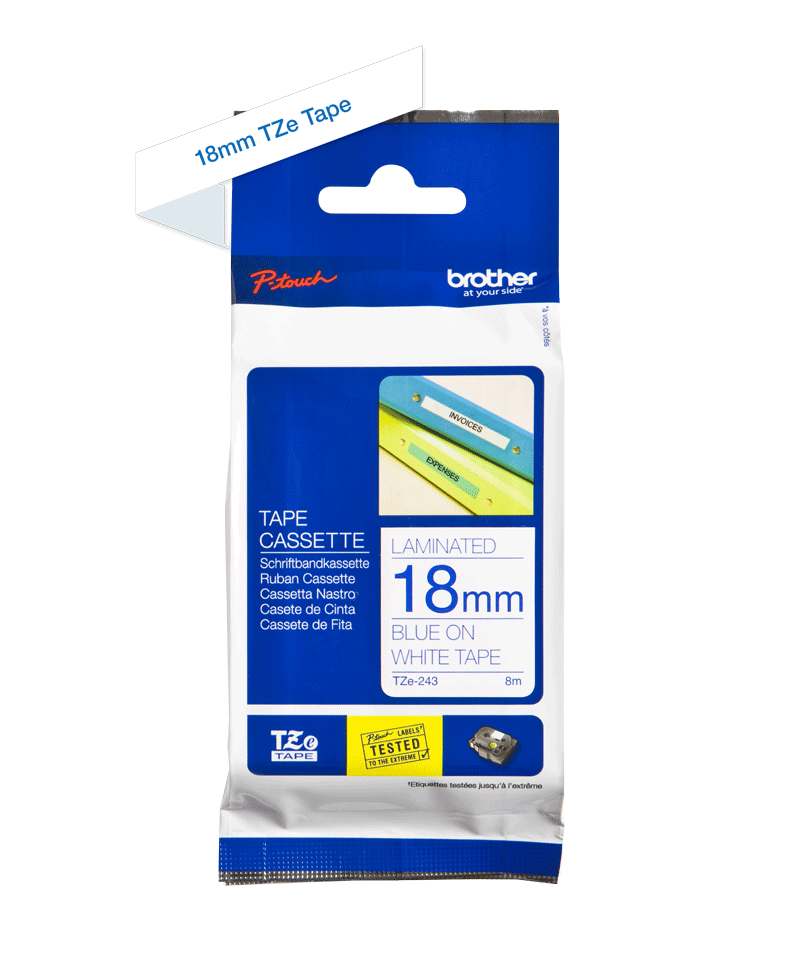 Genuine Brother TZe-243 Labelling Tape Cassette – Blue on White, 18mm wide 3