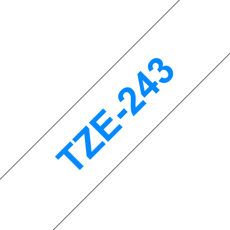 Genuine Brother TZe-243 Labelling Tape Cassette – Blue on White, 18mm wide