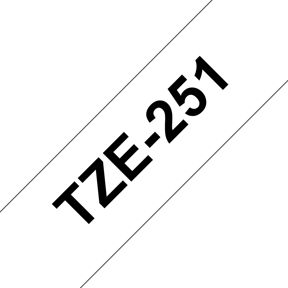 Genuine Brother TZe-251 Labelling Tape Cassette – Black on White, 24mm wide