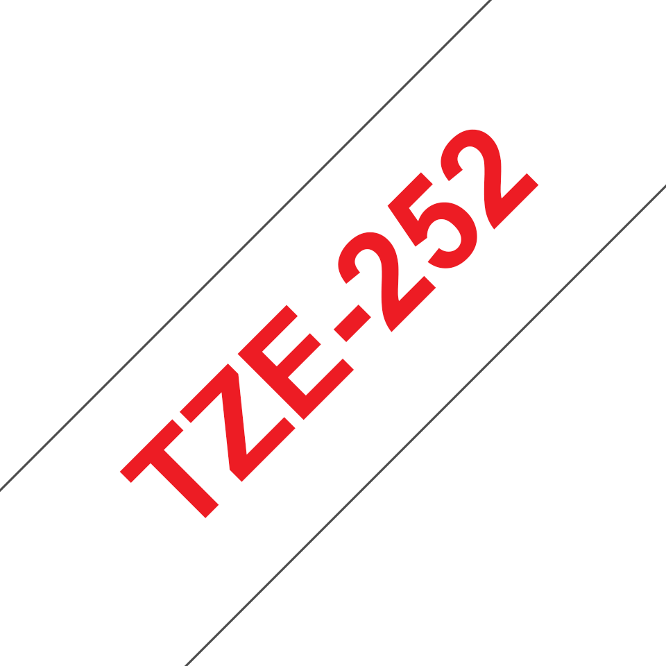 Genuine Brother TZe-252 Labelling Tape Cassette – Red on White, 24mm wide