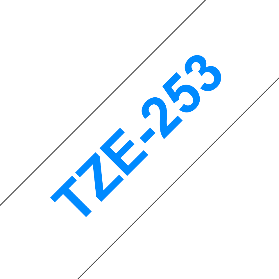Genuine Brother TZe-253 Labelling Tape Cassette – Blue on White, 24mm wide 2