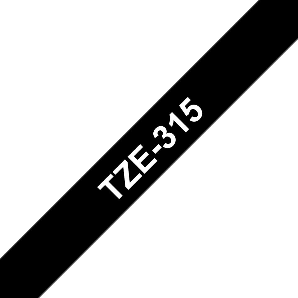 Genuine Brother TZe-315 Labelling Tape Cassette – White On Black, 6mm wide