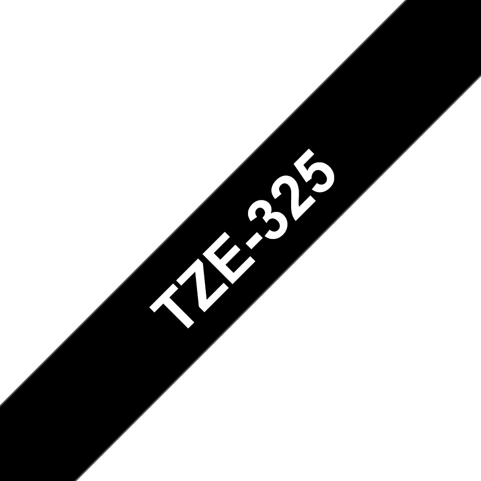 Genuine  Brother TZe-325 Labelling Tape Cassette – White on Black, 9mm wide