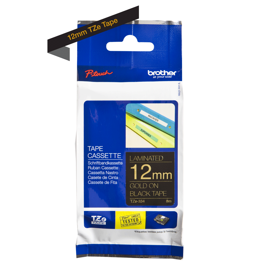 Genuine Brother TZe-334 Labelling Tape Cassette – Gold On Black, 12mm wide 3