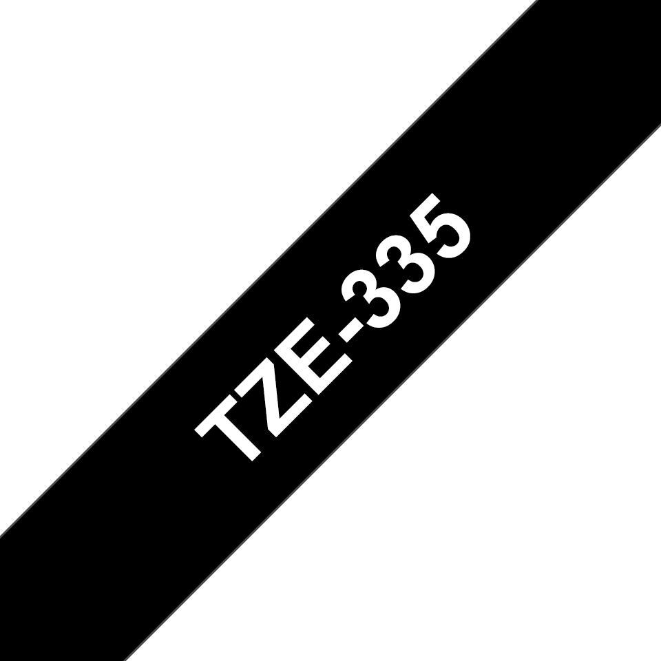 Genuine Brother TZe-335 Labelling Tape – White on Black, 12mm wide 3