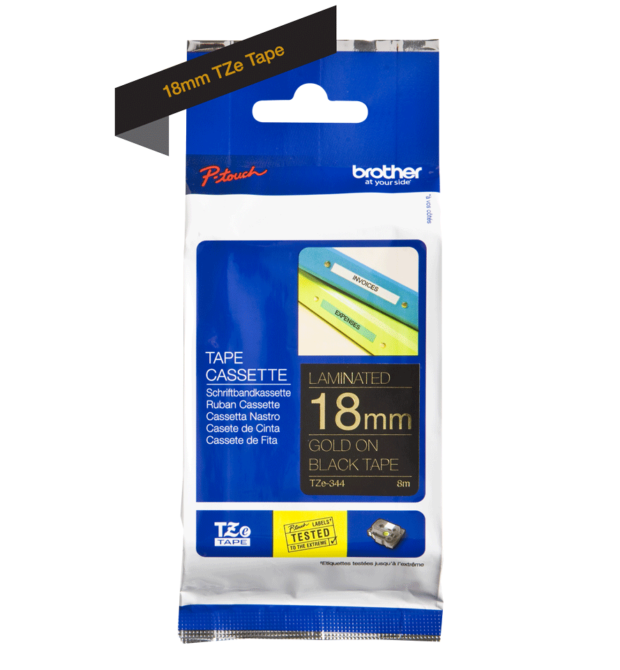 Genuine Brother TZe-344 Labelling Tape Cassette – Gold On Black, 18mm wide 2