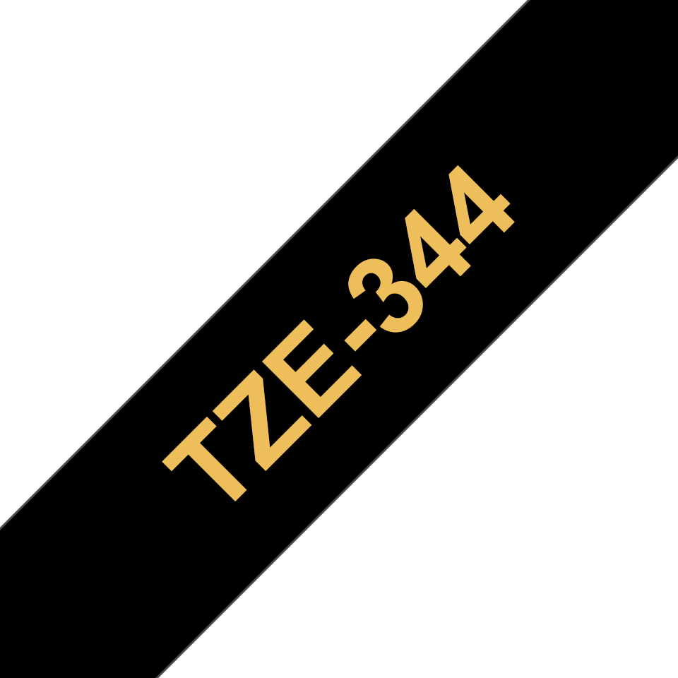 Genuine Brother TZe-344 Labelling Tape Cassette – Gold On Black, 18mm wide