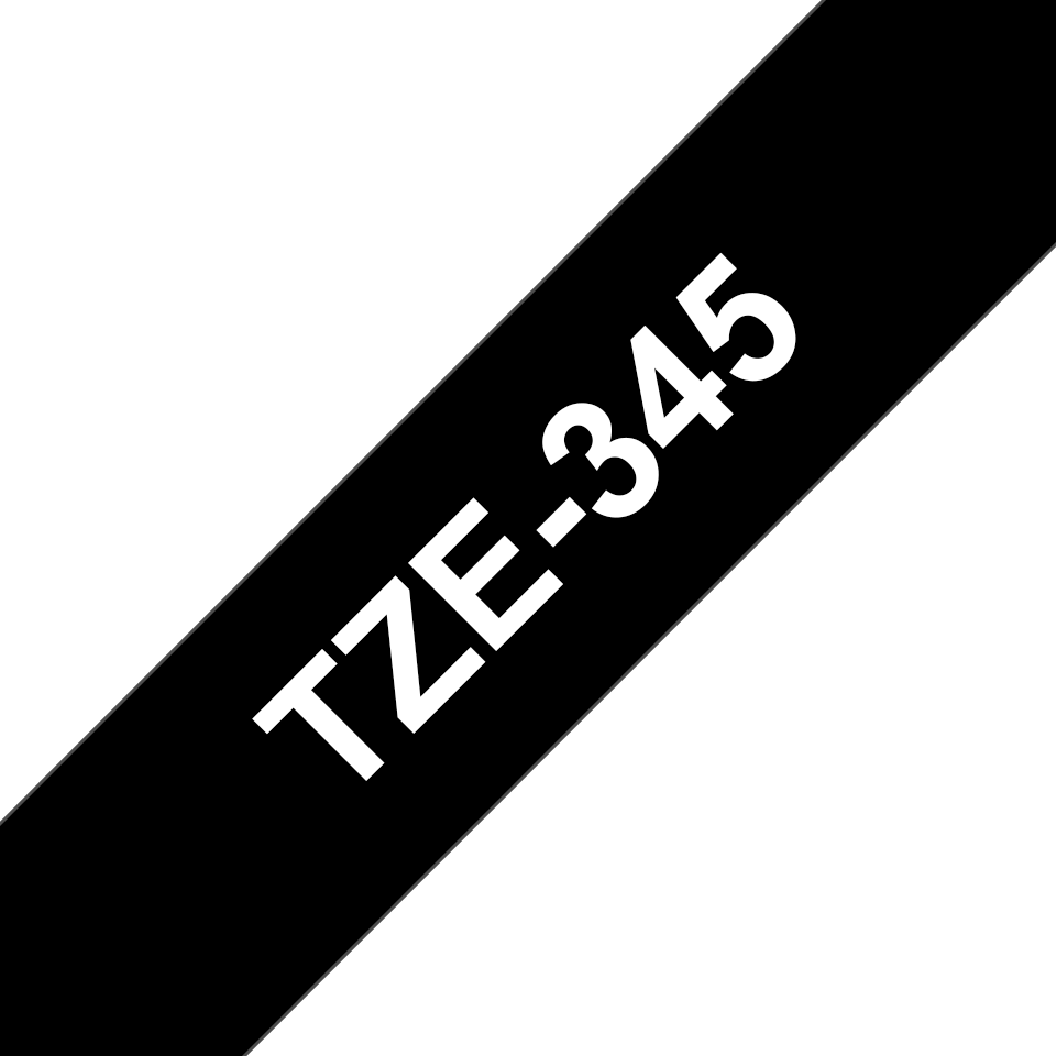 Genuine Brother TZe-345 Labelling Tape Cassette – White On Black, 18mm wide