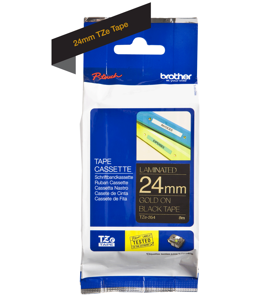 Genuine Brother TZe-354 Labelling Tape Cassette – Gold on Black, 24mm wide 2