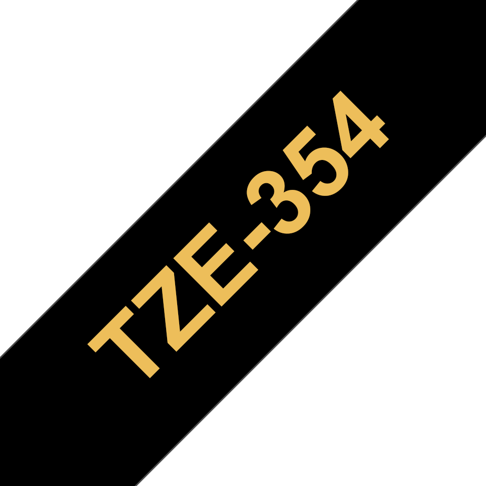 Genuine Brother TZe-354 Labelling Tape Cassette – Gold on Black, 24mm wide