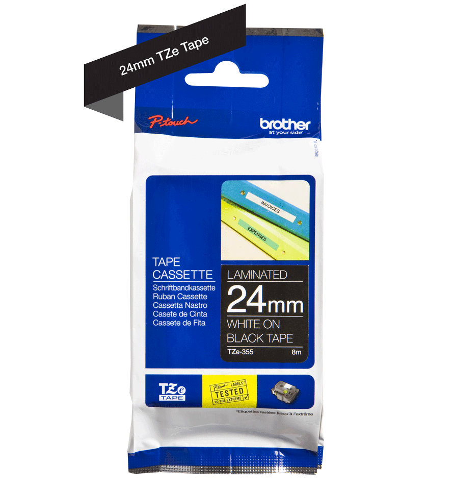 Genuine Brother TZe-355 Labelling Tape Cassette – White On Black, 24mm wide 2