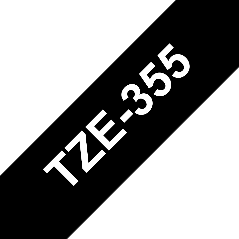 Genuine Brother TZe-355 Labelling Tape Cassette – White On Black, 24mm wide