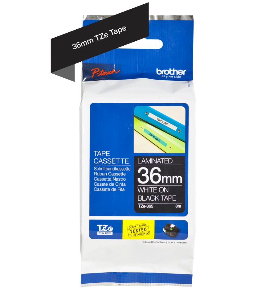 Genuine Brother TZe-365 Labelling Tape Cassette – White On Black, 36mm wide 2